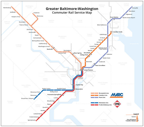 Map of current rail commuter service in Maryland and Virginia. (Peter Dovac/Transit oriented)
