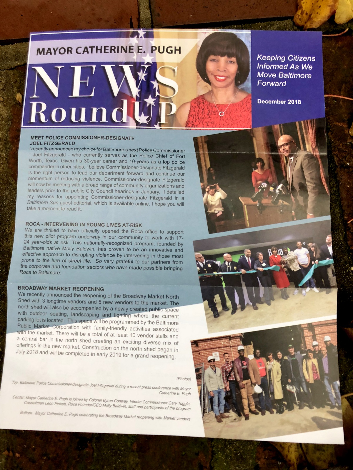 Appearances by Mayor Pugh to publicize initiatives like the ROCA program to support at-risk youth are featured in the December NEWS RoundUp.