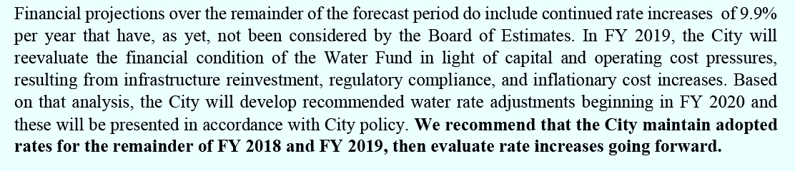 Recommendation from Raftelis report on pg 12