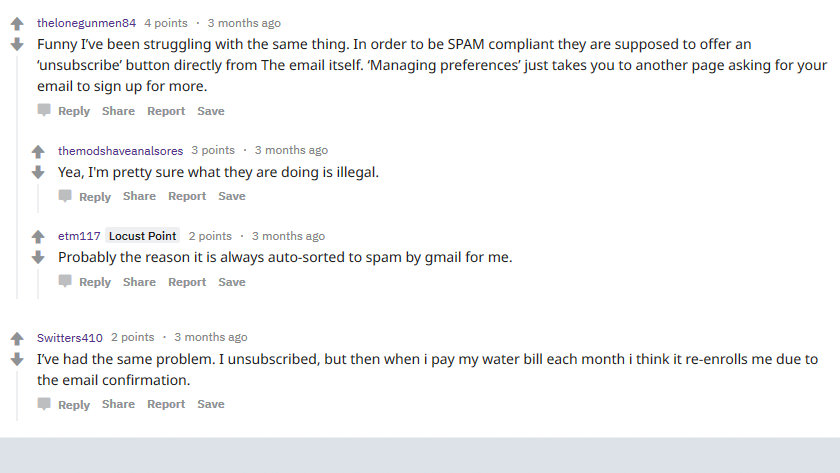 Reddit discussion of how to unsubscribe from Mayor Pugh's emails.