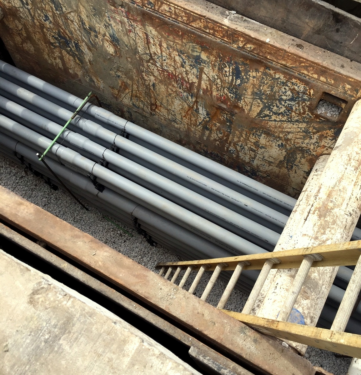 Another view of an exposed conduit chamber. The chambers are built around five feet below the surface and typically can be accessed through manholes. (Mark Reutter)