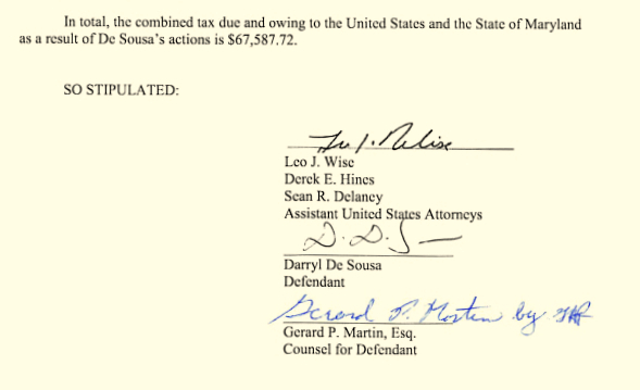 The final paragraph of De Sousa's signed stipulation of facts today. (U.S. Attorney's Office for Maryland)
