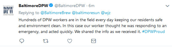 @BaltimoreDPW reply on Jones Falls green dye incident.