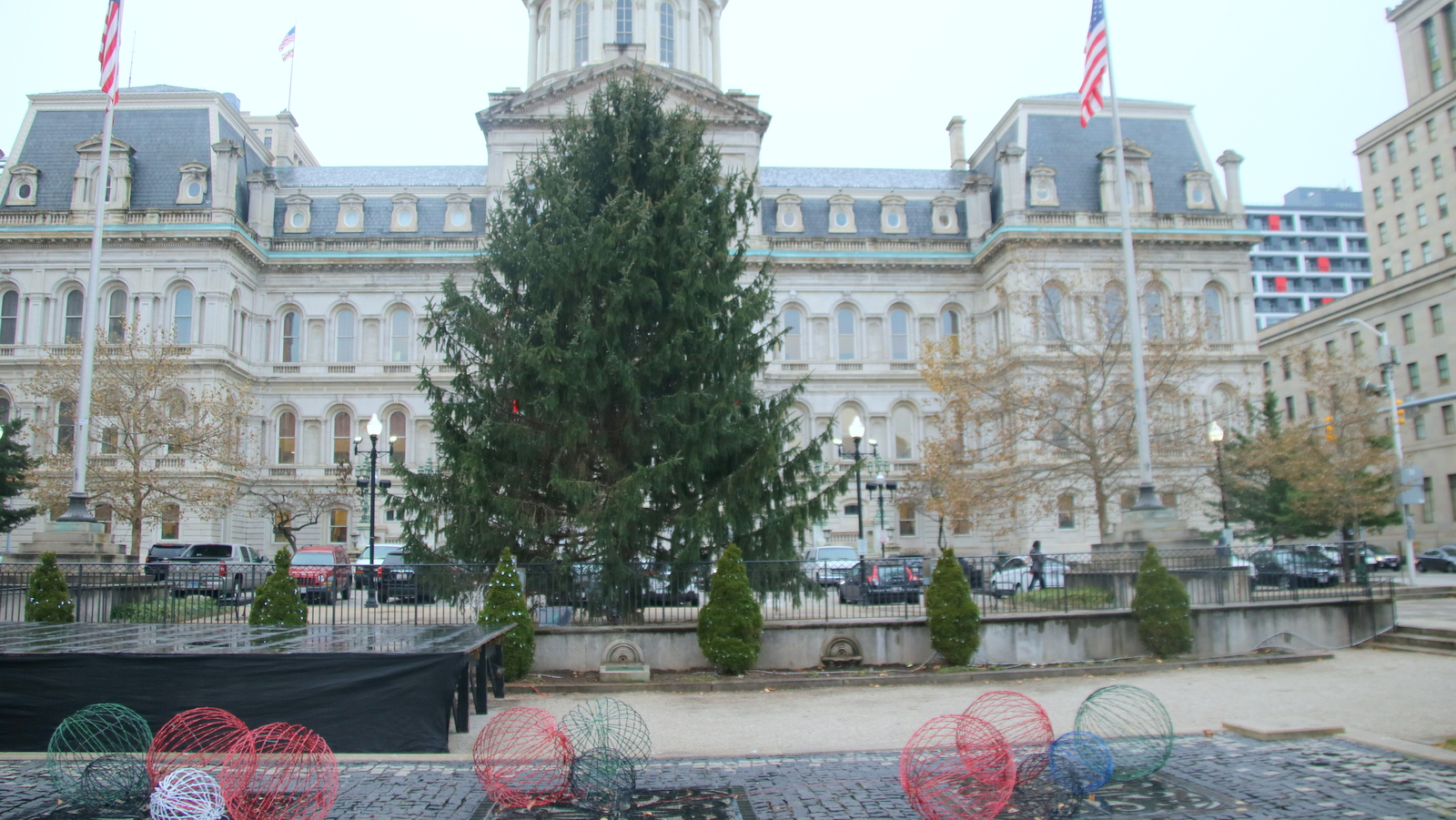 The Christmas tree Mayor Catherine Pugh will be lighting in a ceremony Monday was cut down from a city park. (Fern Shen)
