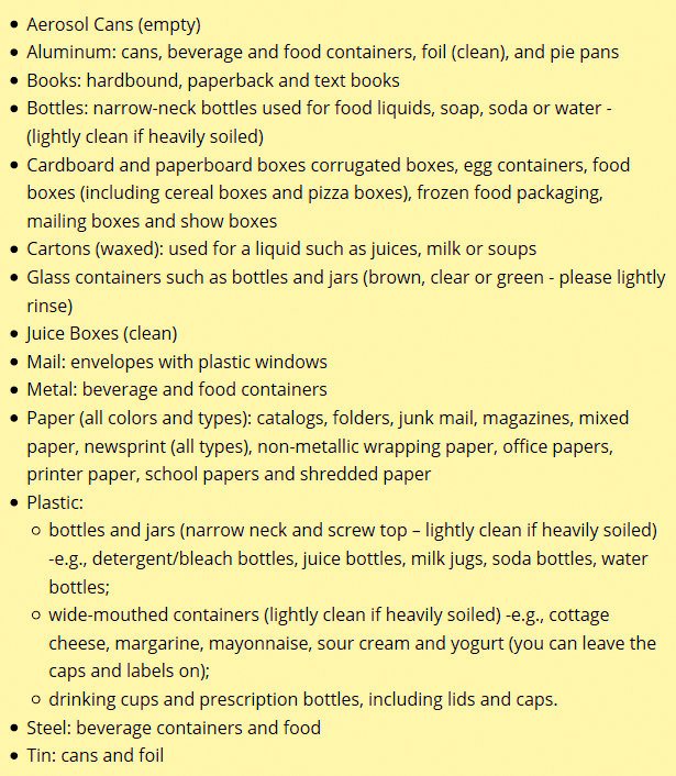 Items that CAN be recycled in Baltimore. (Department of Public Works)