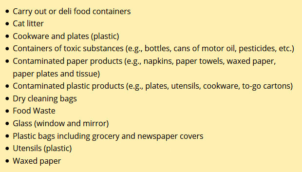 Items that cannot be recycled in Baltimore. (Department of Public Works)