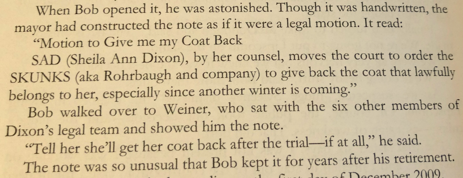 The note Sheila Dixon handed State Prosecutor Robert Rohrbaugh during her 2009 trial on corruption charges. (From Jim Cabezas'