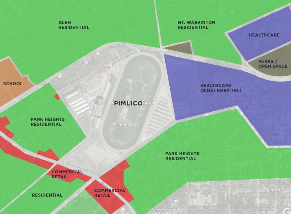 Neighborhoods surrounding the 110-acre Pimlico Race Course campus. The major east-west road at the top of the map is Northern Parkway. (Maryland Stadium Authority 2017 study)