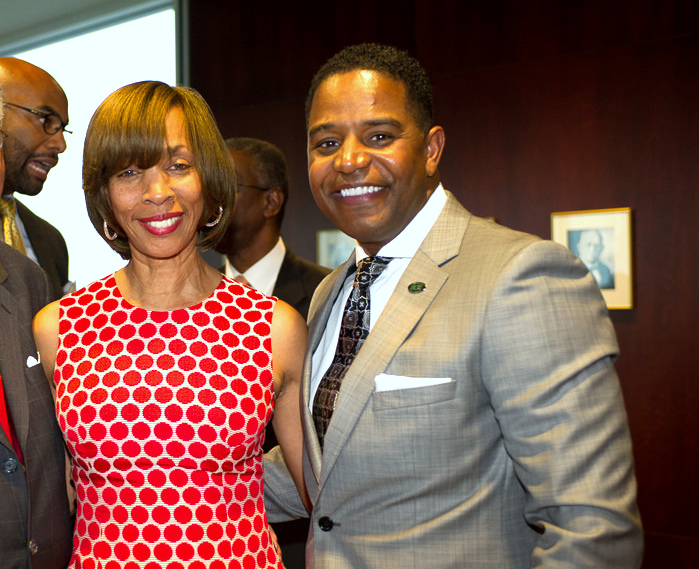 Then-state Senator Catherine Pugh with BGE chief Calvin G. Butler Jr., at a 2014 reception at Morgan State University. (MSU)