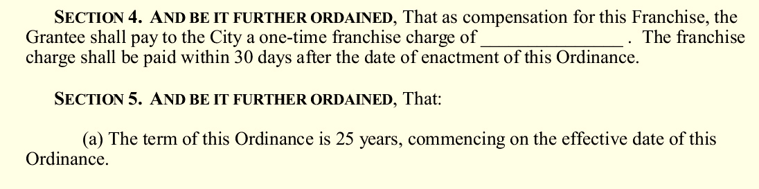 The pipeline ordinance introduced to the City Council by the Pugh administration left the franchise charge to be paid by BGE blank. A city lawyer later told a Council committee the fee would be $1.4 million. (CC Bill 18-0298)