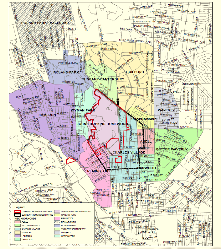 Map showing the immediate boundaries of the Homewood campus (the so-called Clergy geography), the neighborhood zone currently patrolled by Hopkins and the neighborhoods surrounding the campus. (Johns Hopkins Security Department)