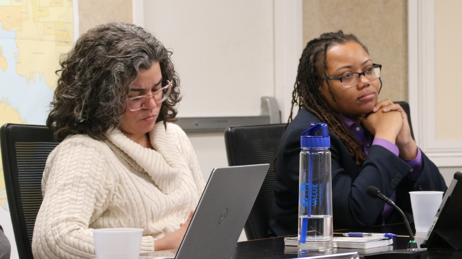 CHAP member Monica Rhodes (right) questioned whether community members had been fully engaged in plans for the redevelopment. (Fern Shen)