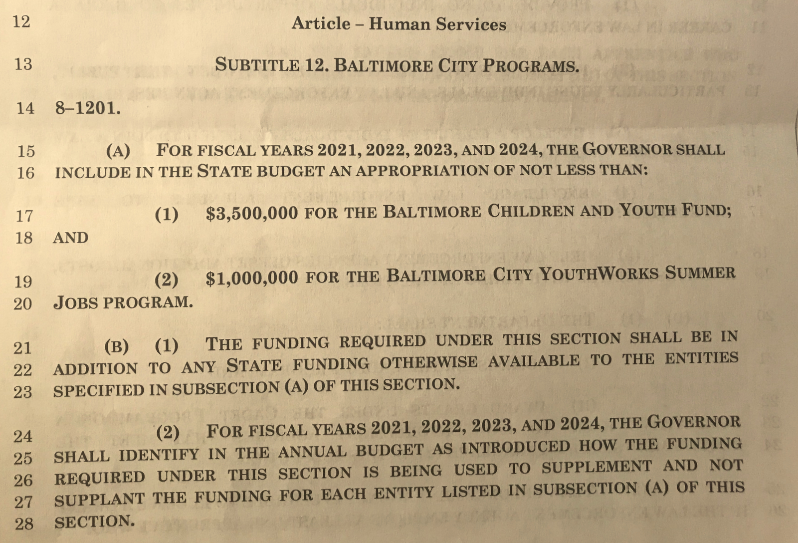 Language in the policing bill that directs state funds to be spent on two youth programs favored by Baltimore's two top elected officials.