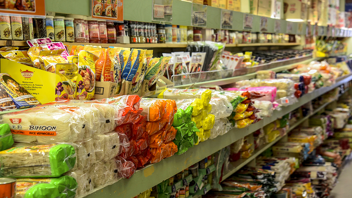 The noodle aisle at Po Tung Oriental Grocery on Park Avenue. (J.M. Giordano)