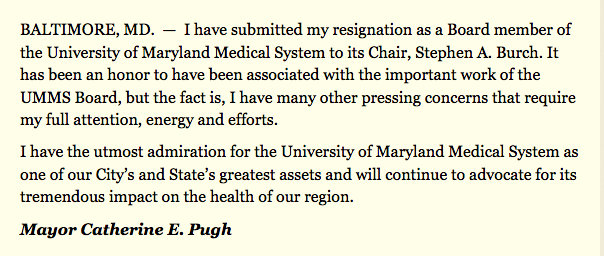 This morning Mayor Pugh issued this statement through her press office.