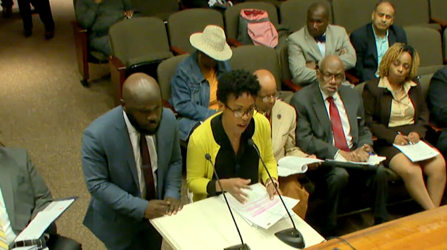 Letitia Dzirasa addresses questions about the Ryan White HIV AIDS funding before the Board of Estimates .(CharmTV)