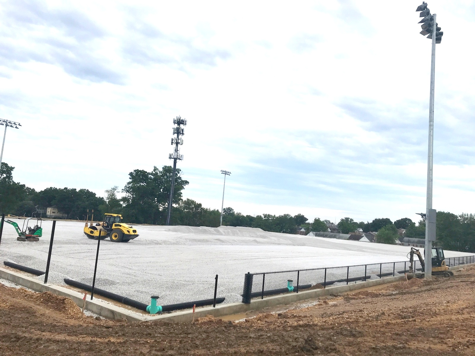 The $4 million stadium and turf field now underway at Mercy High School. (Mark Reutter)