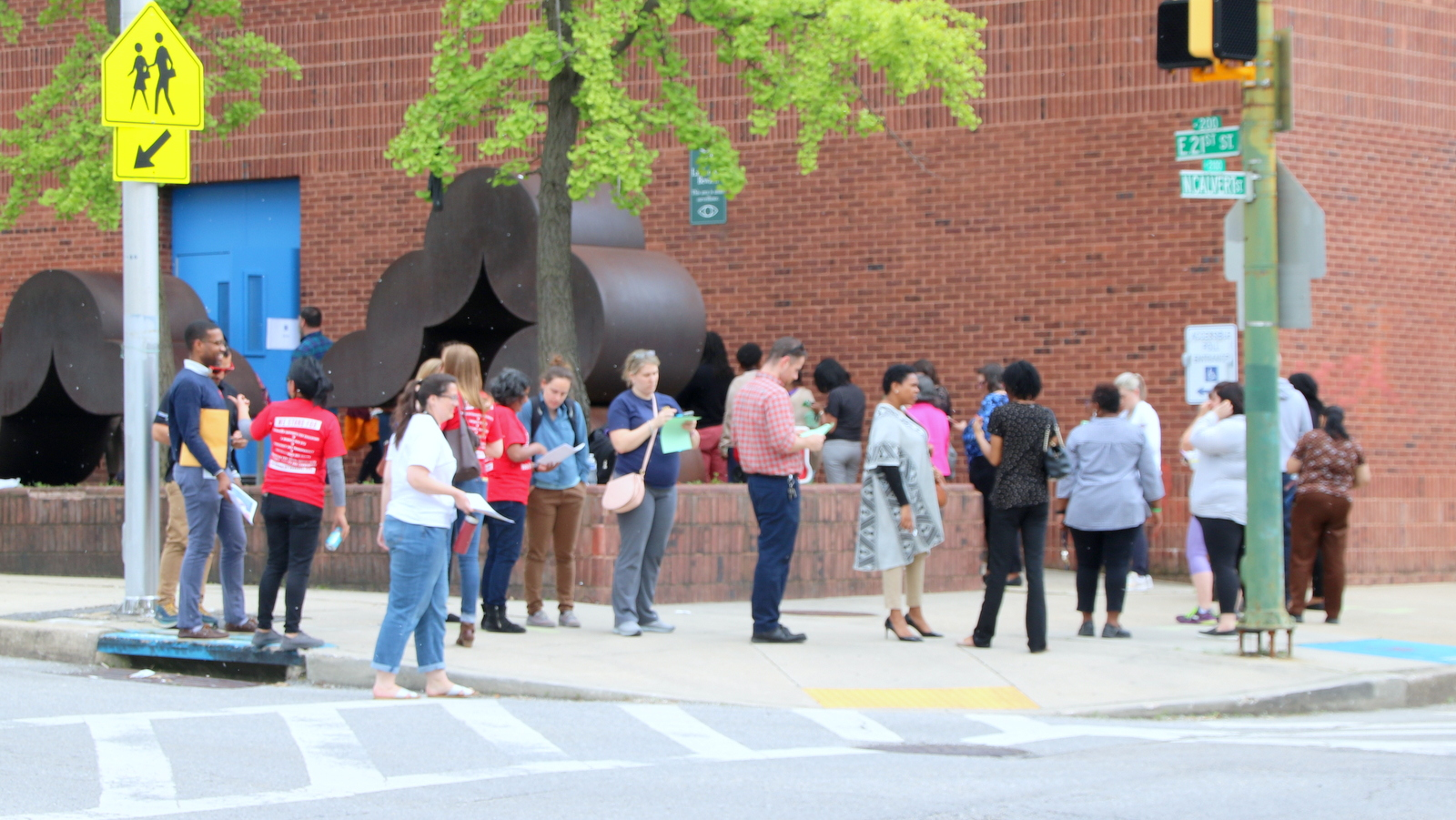 At the Dallas F. Nicholas Sr. Elementary School, members wait to vote in the Baltimore Teachers Union election. (Fern Shen)