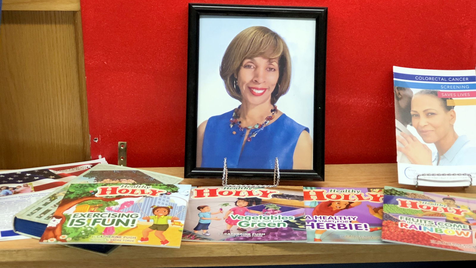 Catherine Pugh's Healthy Holly books, at the Langston Hughes Community Resource and Business Center. (Fern Shen)