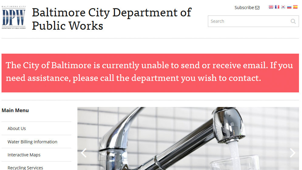 With email disabled, city agency websites advised visitors to pick up the phone if they had city business. (baltimorecity.gov)