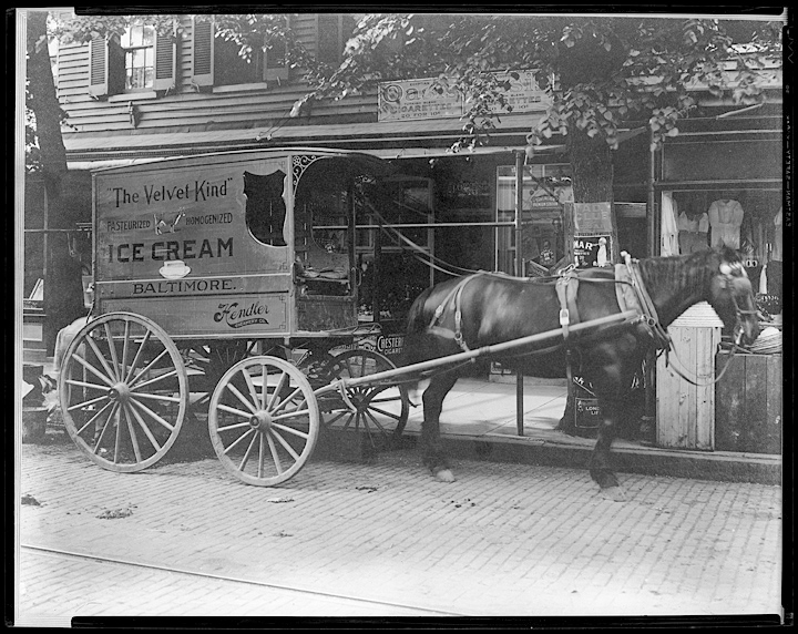 Ice cream truck drawn by horse – Hendler Creamery, Hughes Company, 1941. (Courtesy Maryland Historical Library)