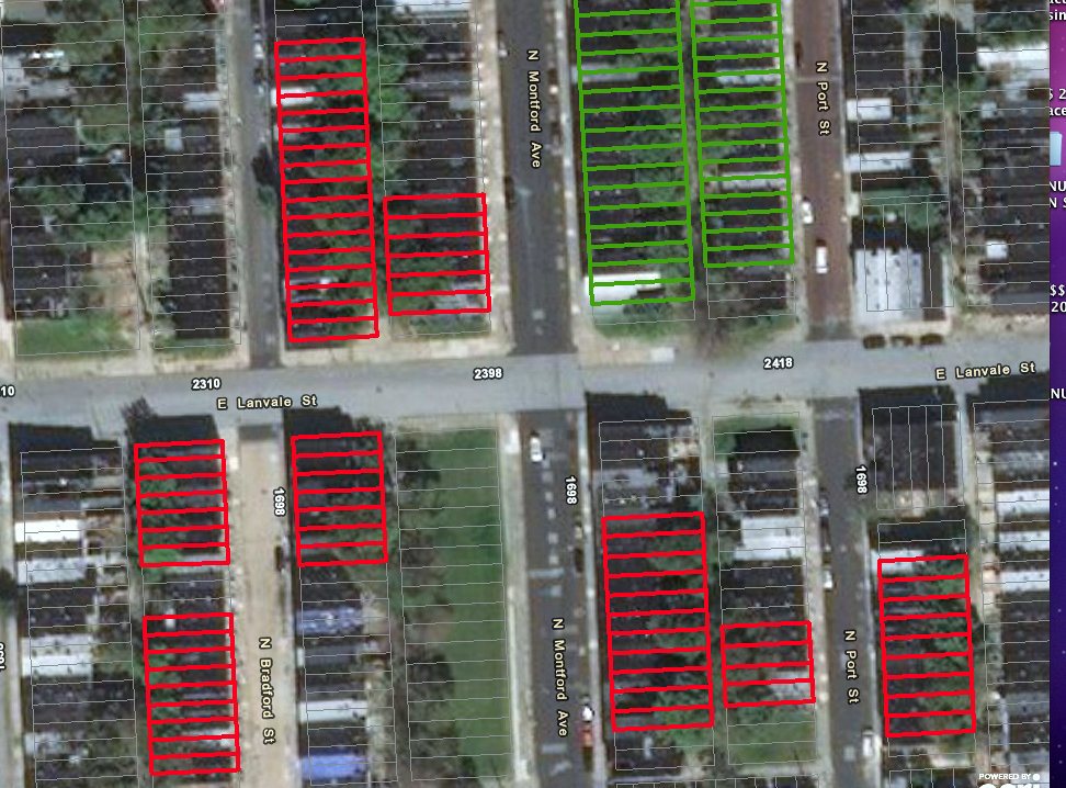 The red lines show houses slated for demolition this year, including the east side of the 1700 block of North Bradford and much of the west side of the 1600 block. The green lines represent prior demolition in the Broadway East neighborhood. (Project CORE, MD-HCD)