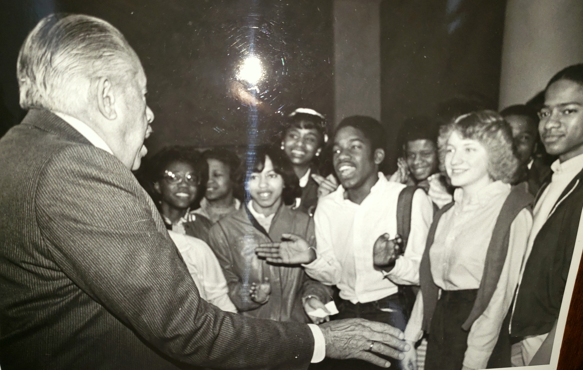 Cab Calloway greets fans in Baltimore in the 1970s. (Courtesy of Peter Brooks)