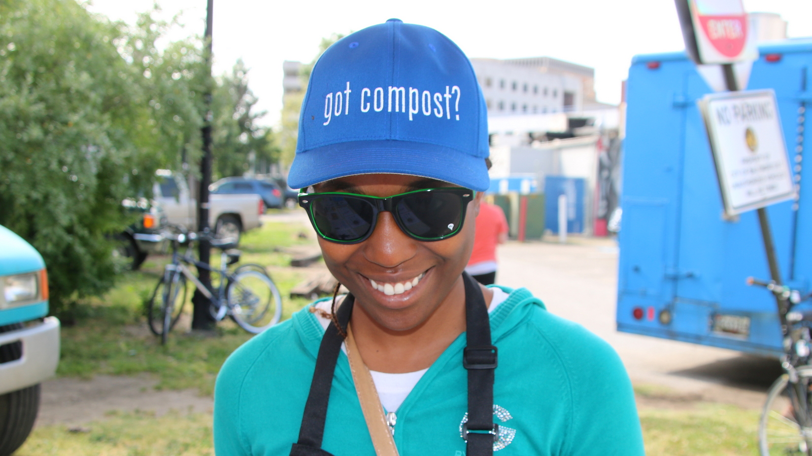 Steering Baltimore's compost collection program, Ava Richardson sends her message with style. (Fern Shen)