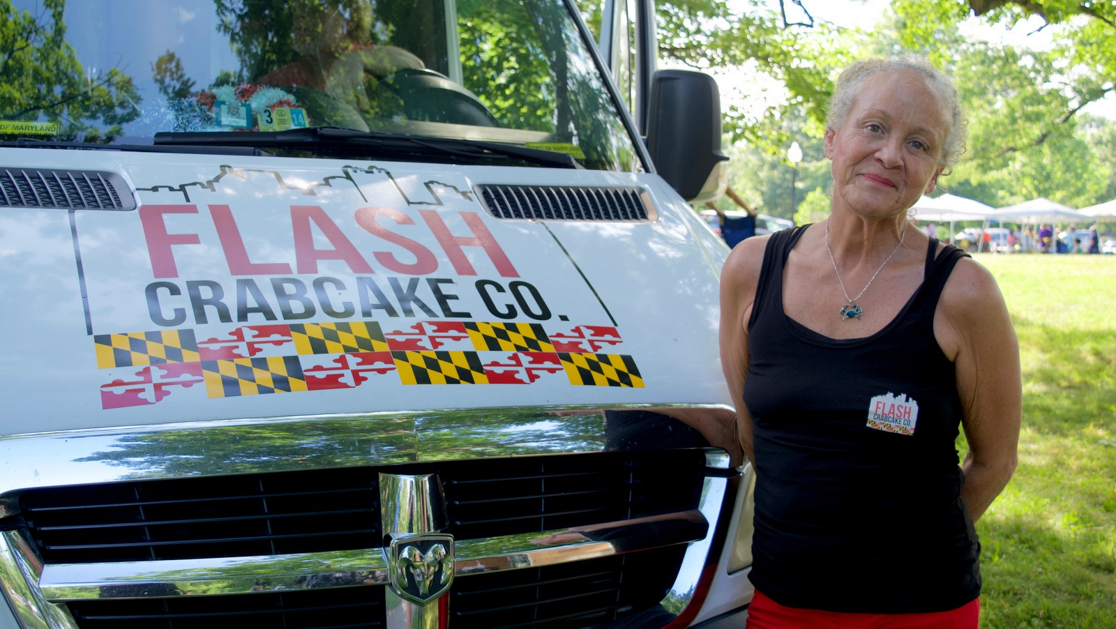 Jo Harding-Gordon, of Flash Crabcakes, at the Druid Hill farmers Market. (Lizzie Kane)