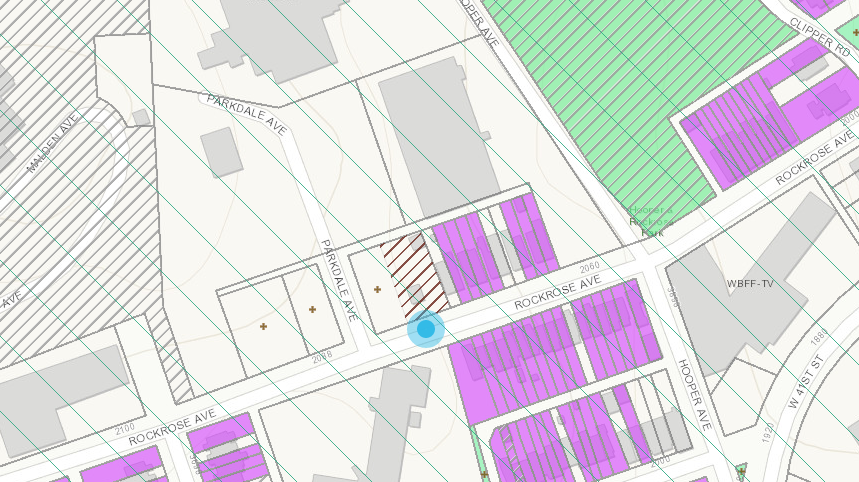 Location of the planned apartment building (blue dot) on Television Hill in Woodberry (Department of Housing and Community Development)