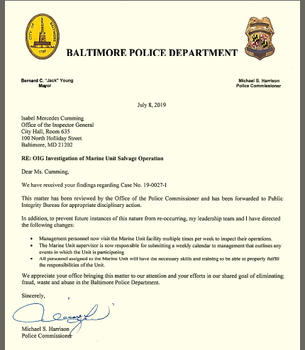Letter by Police Commissioner Michael Harrison in response to Inspector General's report on police salvage operation. (Baltimore OIG)