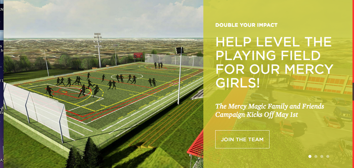 A fundraising letter to potential donors featuring its state-of-the-art sports stadium. (Mercy High School)