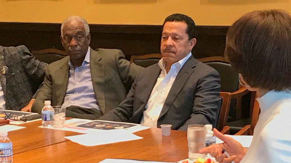 Michael Cryor (center) with J.P. Grant and Mayor Catherine Pugh, at a Squeegee Corps Advisory Board Meeting in January. (@MayorPugh50)