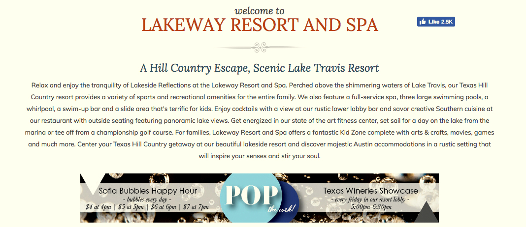 The Lakeway Resort and Spa presents itself as the premier getaway in Texas hill country. (Lakeway Resort and Spa)