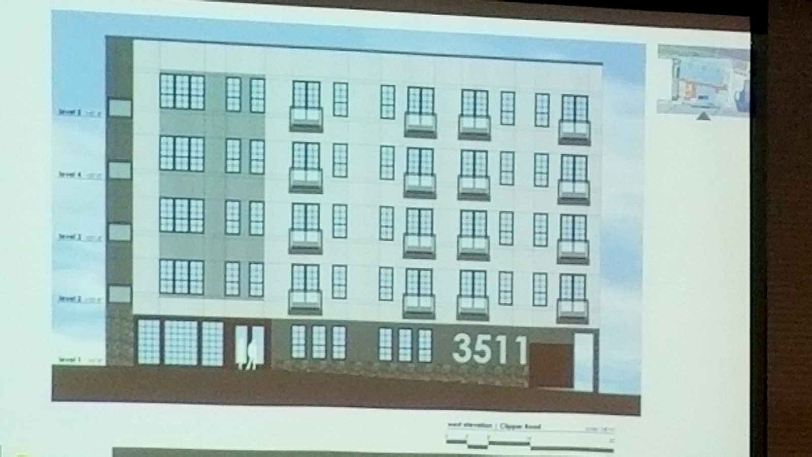 Front facade of proposed five-story apartment building in Woodberry. (Ed Gunts)