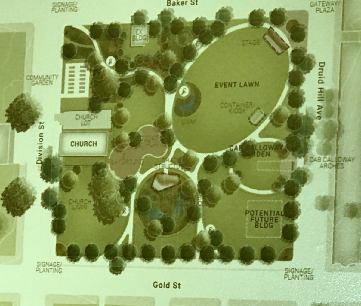 Concept A for the proposed Cab Calloway Park. Concept B would shift the focus of the vent lawn to the