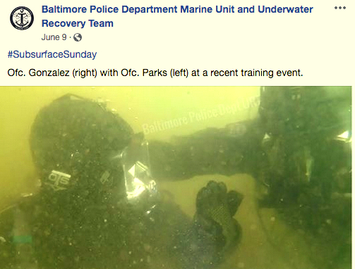 The underwater recovery team conducting a recent training exercise in the harbor. (@BPDmarineunit Facebook)