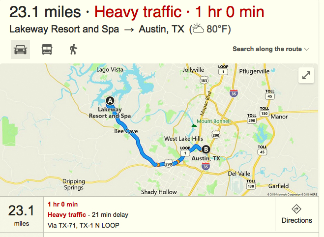 An on-line report from yesterday morning (July 23) shows a one-hour travel time between the Lakeway Resort and downtown Austin (xxx)