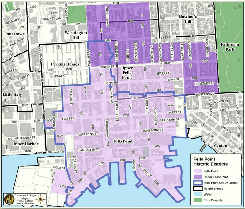 Map of the two historic districts covering Fells Point. At the far left in the area marked