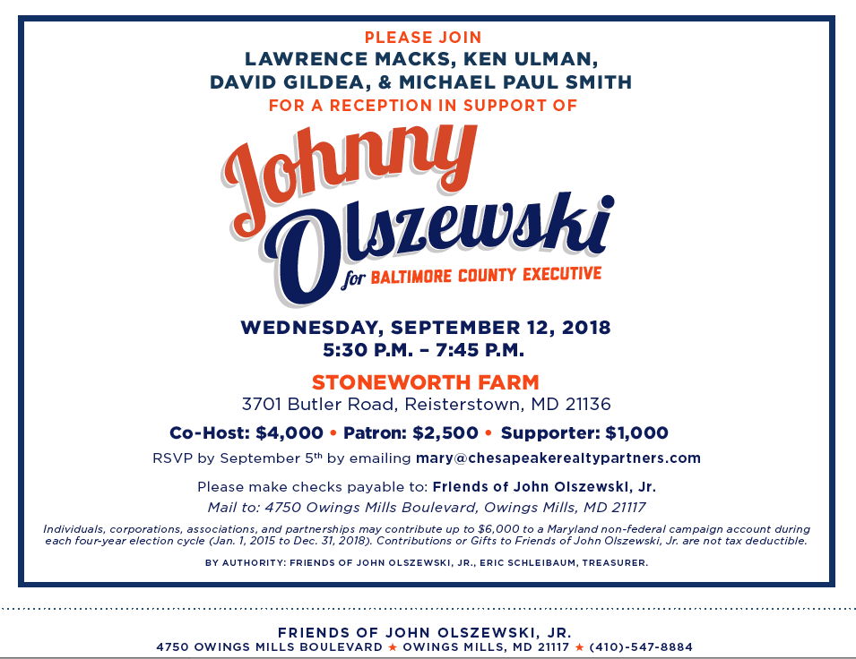 A fundraiser last fall by prominent developers and attorneys for Olszewski, who won the endorsement of one of the biggest boosters of development in the county, former countye executive James T.