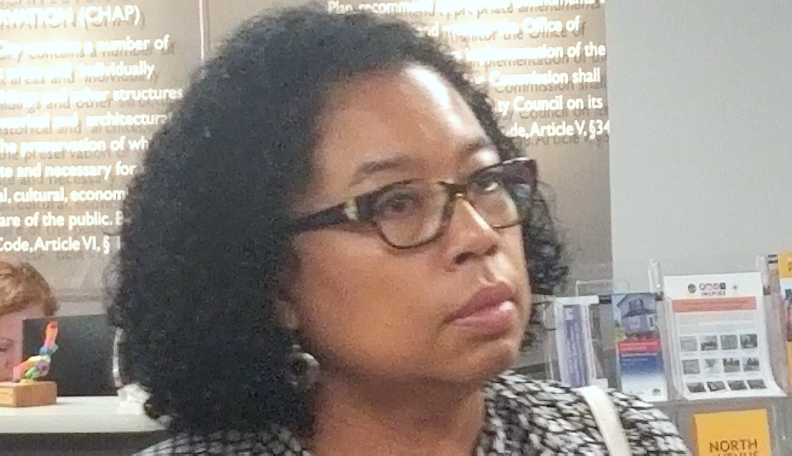 Katherine Jennings has long refused to meet with the Woodberry Community Association, but she showed up yesterday at the UDAAP meeting. (Ed Gunts)