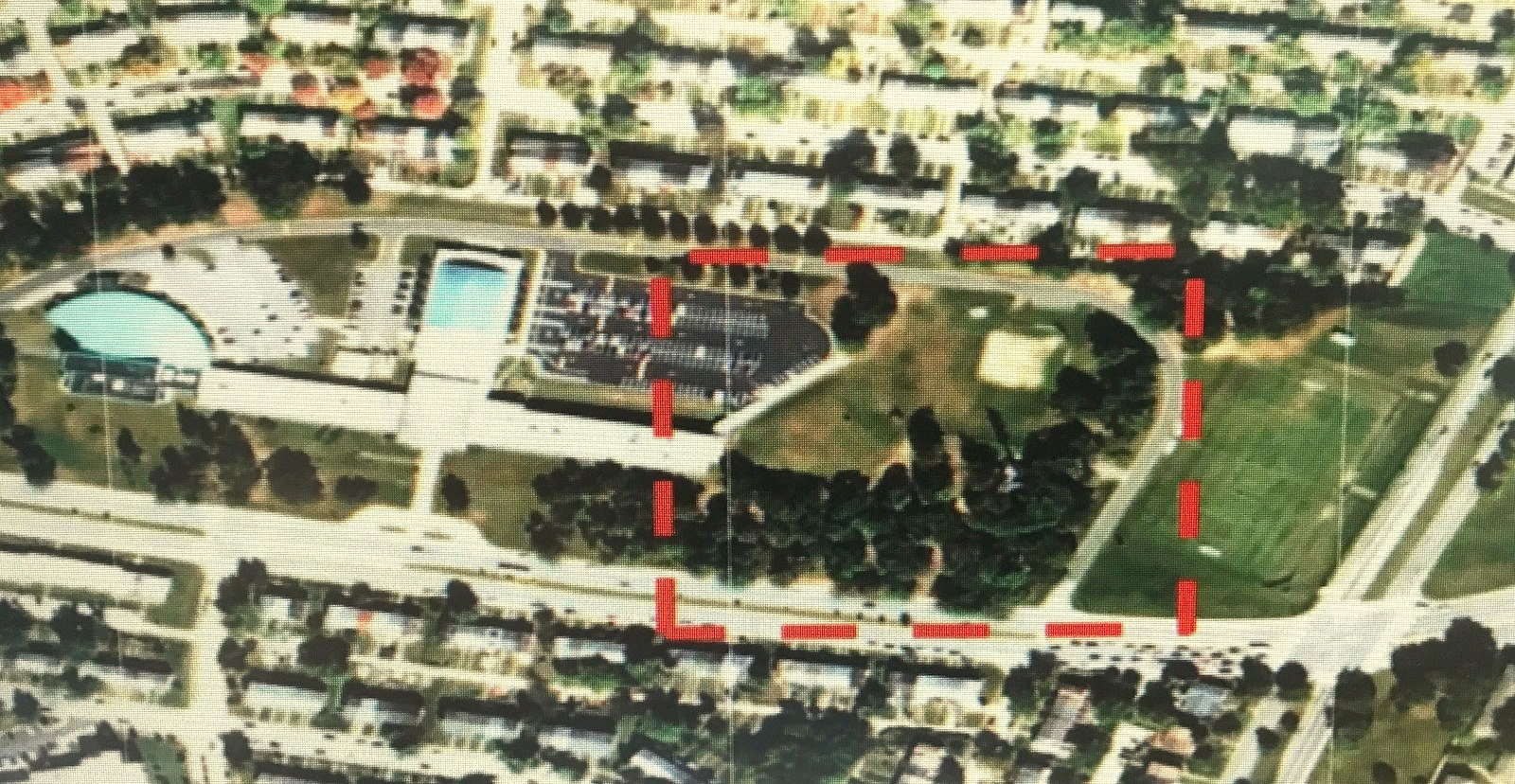 Site of the tree removal (broken red line) at Mercy's 26-acre campus along East Northern Parkway. (Baltimore Planning Department)