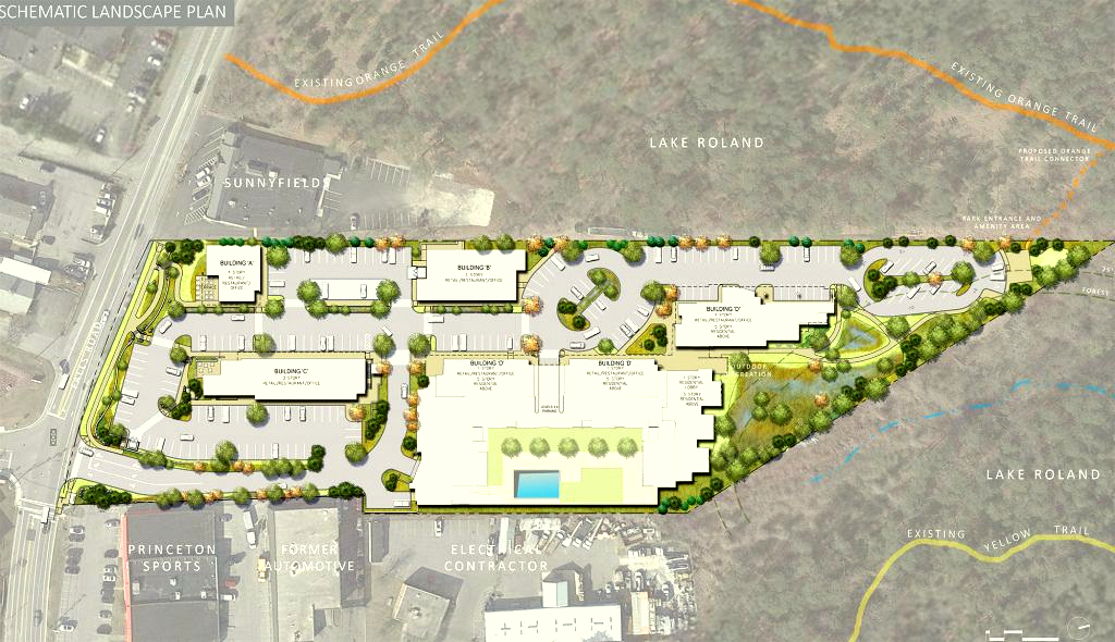 Bluestem Village would have jutted deep into Lake Roland Park and relied on the existing park infrastructure to handle sewage and stormwater runoff. (Vanguard Retail Development)