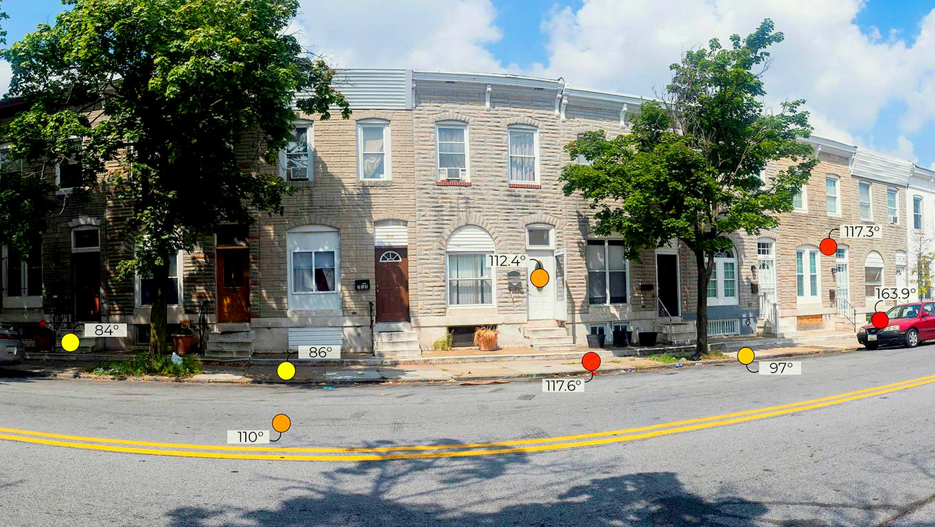 Forward Looking Infrared (FLIR) thermal imaging camera readings, from the 500 block of North Milton Street on August 1, 2019 at 11:20 a.m. (University of Maryland