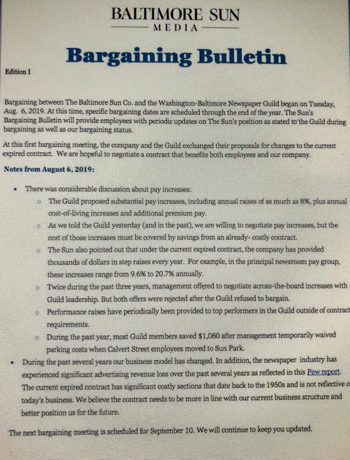 August statement by Baltimore Sun management about August 6 bargaining with the Guild. (@baltsunguild)