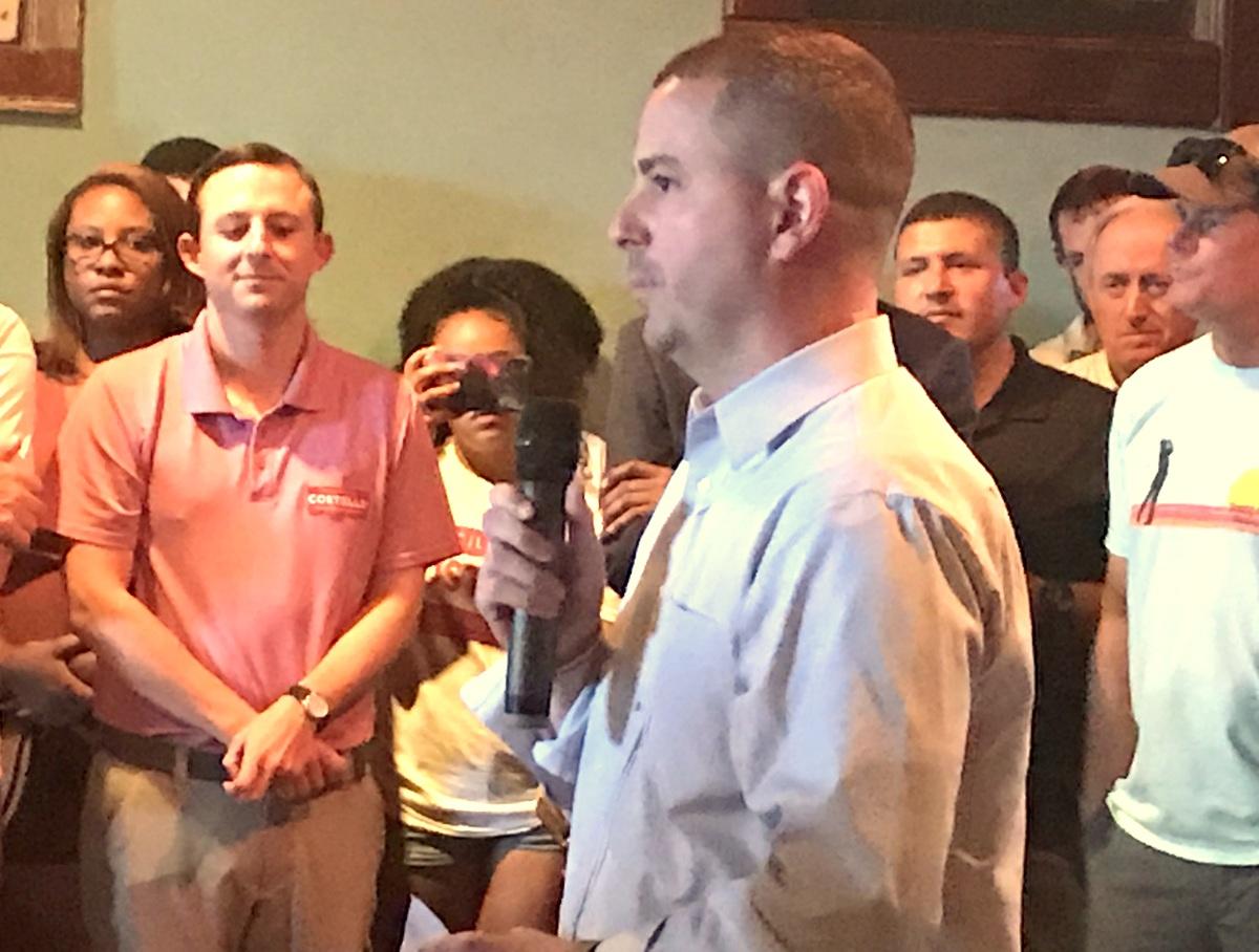 Eric Costello announces he will run to retain his Council seat as state Senator Bill Ferguson watches at the Little Havana restaurant. (Mark Reutter)