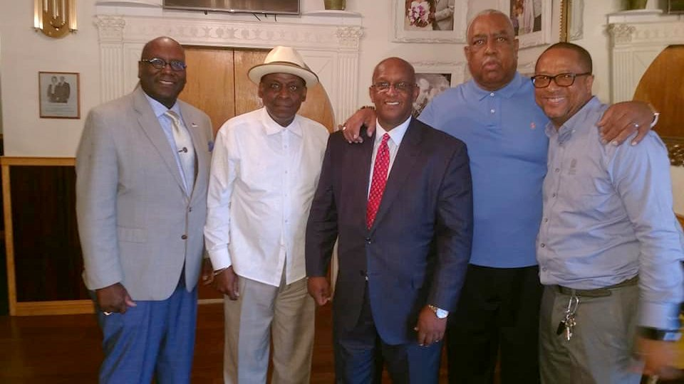 Kevin Parson, Marcus Wise, Hansy Moore and Clifton Addison flank Mayor Jack Young, at the September 28 fundraiser they organized for him. (Facebook)