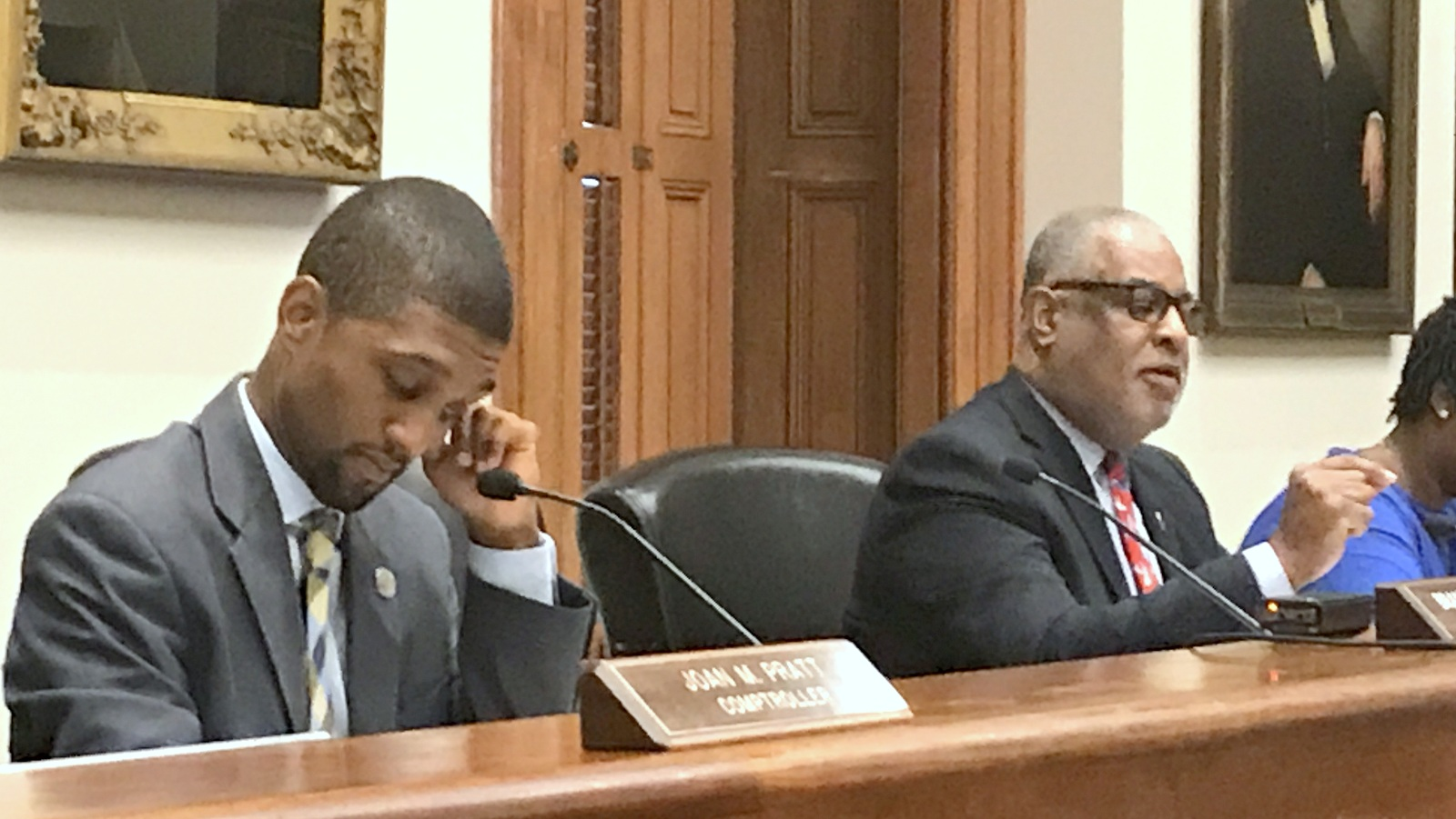 City Solicitor Davis praises a new policy, instituted yesterday, in which victims of police mistreatment can testify when the settlement of their lawsuits come up for BOE approval. (Mark Reutter)