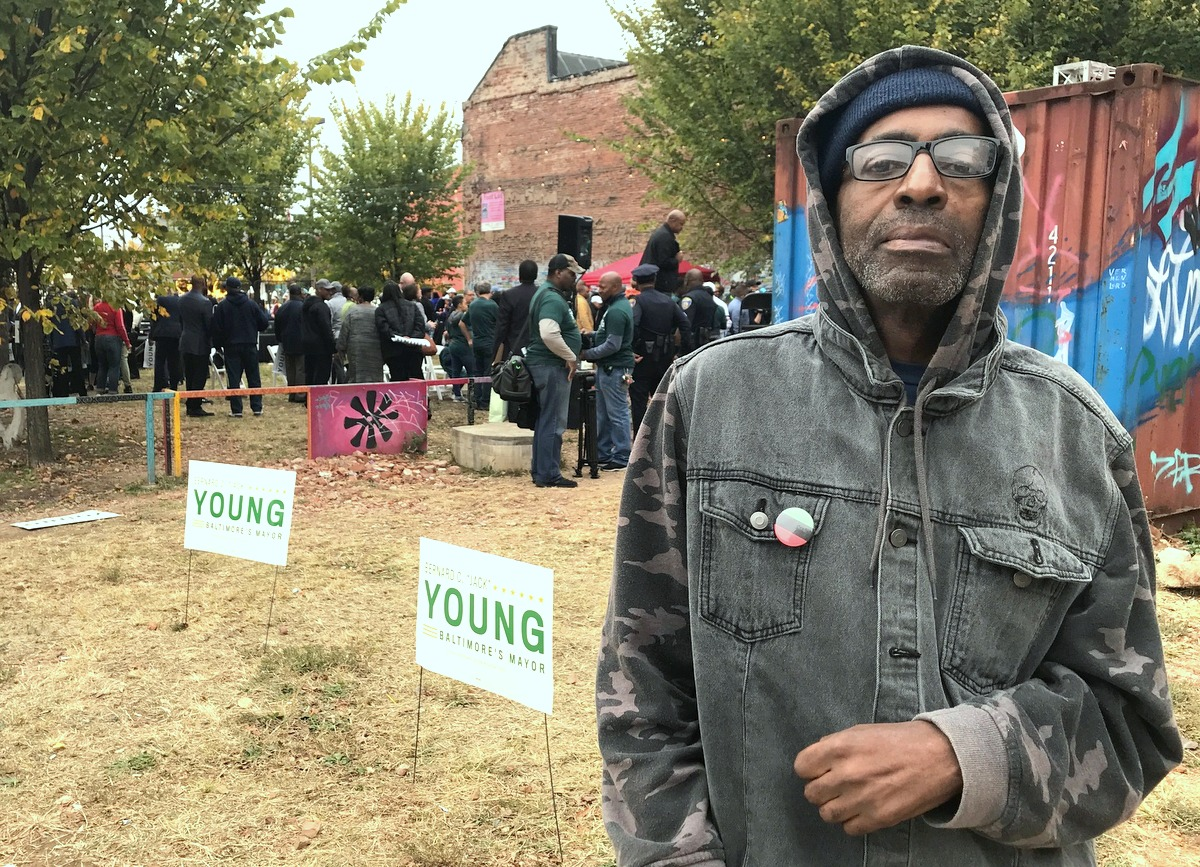 Daniel Griffin, a local street merchant, said he heard nothing new at today's campaign rally. (Mark Reutter)