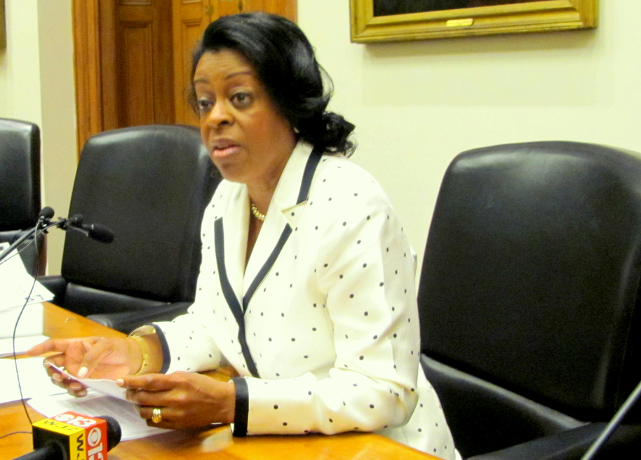 Comptroller Joan Pratt talks to the media about her dispute with then-Mayor Stephanie Rawlings-Blake about VoIP phones in 2012. (Mark Reutter)